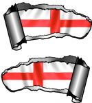 Small Pair Ripped Torn Metal Gash Design & St Georges Cross England Flag Car Sticker 93x50mm each
